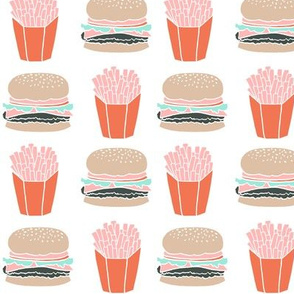 burgers and fries // junk food kids hamburger cheeseburger fast food fried food junk food trendy novelty food print