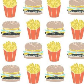 burger and fries fabric // hamburger cheeseburger french fries fries fast food junk food novelty food print