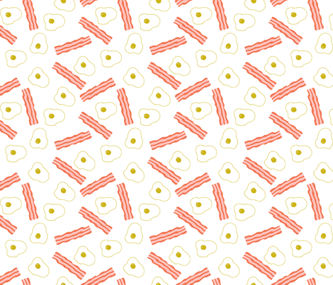 bacon and eggs // breakfast food brunch fried food junk food bacon novelty food print fabric by andrea_lauren on Spoonflower - custom fabric