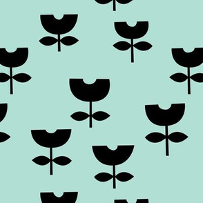 Sweet poppy flower abstract scandinavian style tulip mint blue