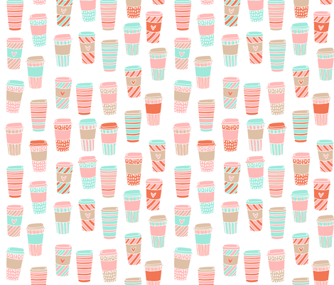 coffee // coffee to go mint and pink sweet latte coffee drink girls  fabric by andrea_lauren on Spoonflower - custom fabric
