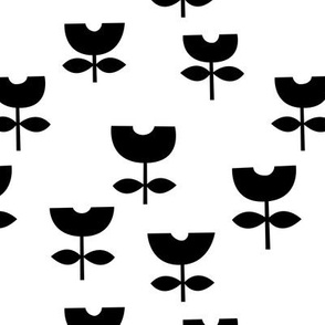 Sweet poppy flower abstract scandinavian style tulip black and white
