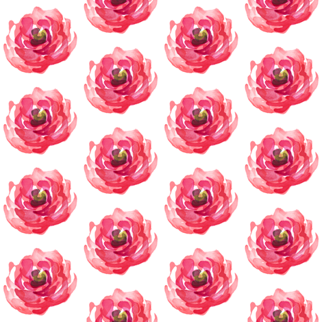 Deep Bright Pink Roses fabric by shopcabin on Spoonflower - custom fabric