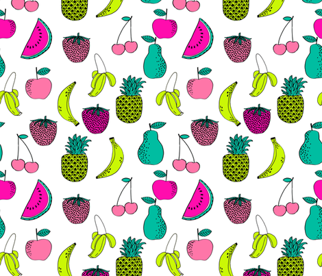 fruit // fruits summer tropical fun bright watermelon pineapple banana kids summer fruit print fabric by andrea_lauren on Spoonflower - custom fabric