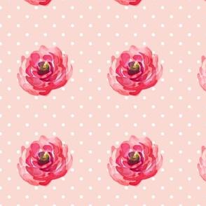 Mini Rose / White Polka Dots