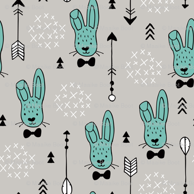 Cool hipster white bunny and geometric arrows spring easter design in gender neutral pastel blue