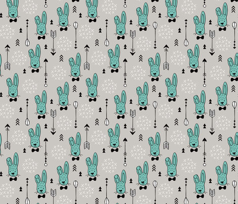 Cool hipster white bunny and geometric arrows spring easter design in gender neutral pastel blue fabric by littlesmilemakers on Spoonflower - custom fabric