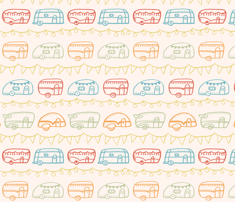 Retro Campers - Campfire fabric by ellolovey on Spoonflower - custom fabric