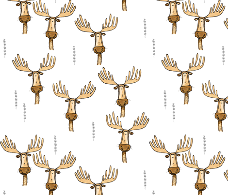 Many Massive Moose fabric by mulberry_tree on Spoonflower - custom fabric