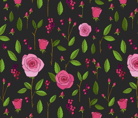rose_study_dark fabric by holli_zollinger on Spoonflower - custom fabric
