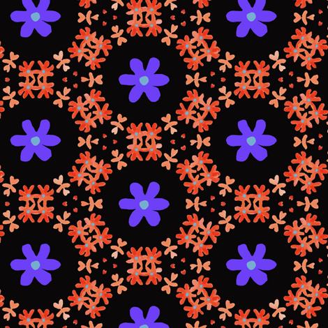Little Florals on Black with Orange & Purples fabric by lauriekentdesigns on Spoonflower - custom fabric
