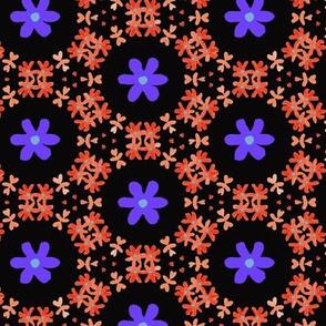 Little Florals on Black with Orange & Purples