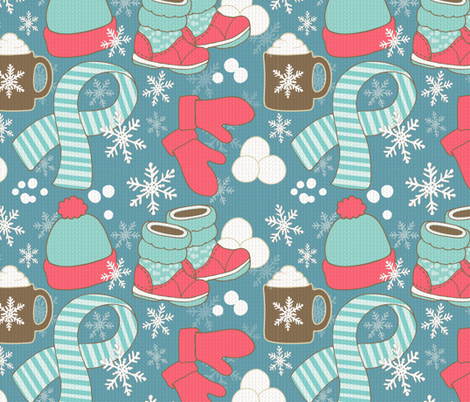 Snow_Day_Blue fabric by gilly_flower_studio on Spoonflower - custom fabric