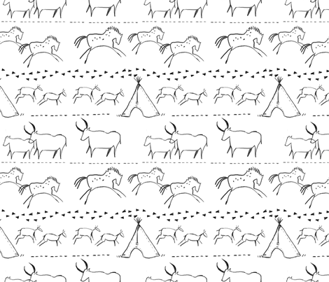Cave Drawings in Black and White fabric by averielaneboutique on Spoonflower - custom fabric