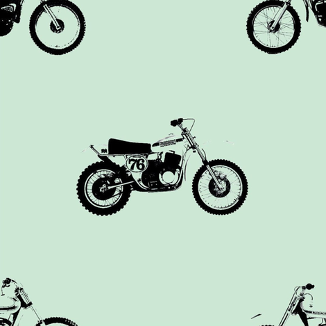 Classic Motocross Bikes Mint Bigger fabric by pennyroyal on Spoonflower - custom fabric
