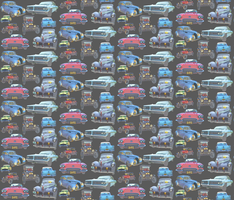 Dean's Antique Car Collage fabric by midcoast_miscellany on Spoonflower - custom fabric