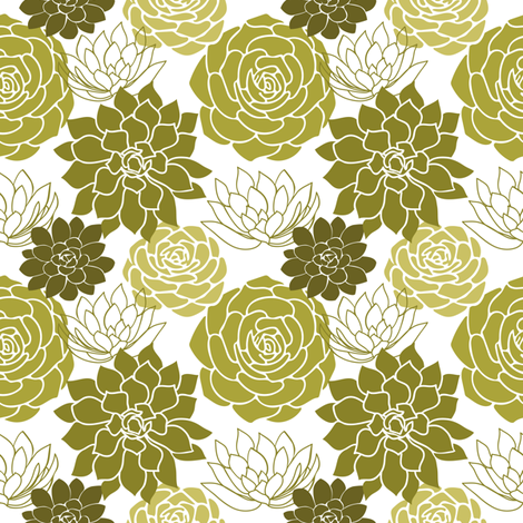 Succulents fabric by mintpeony on Spoonflower - custom fabric