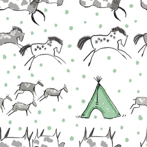 Cave Drawings in Green