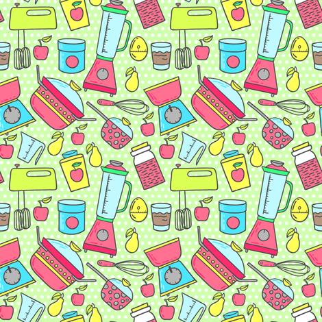 Retro cooking fabric by mzwonko on Spoonflower - custom fabric