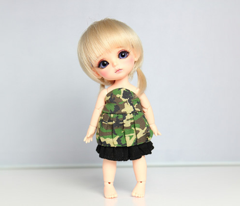 [Lati Yellow] Cut and sew - Green Camouflage dress