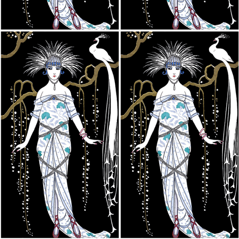 art deco woman lady female trees flowers branches willows peacocks white feathers vintage fabric by raveneve on Spoonflower - custom fabric
