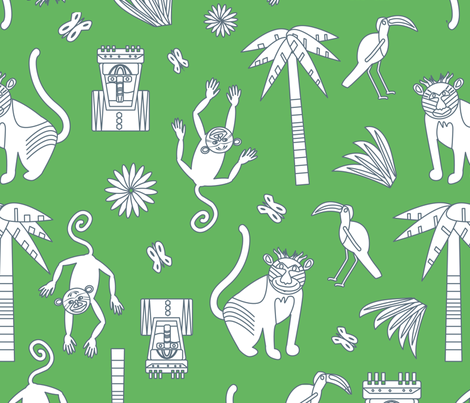 Monkey baboon green for sale fabric by space_tempo_design on Spoonflower - custom fabric