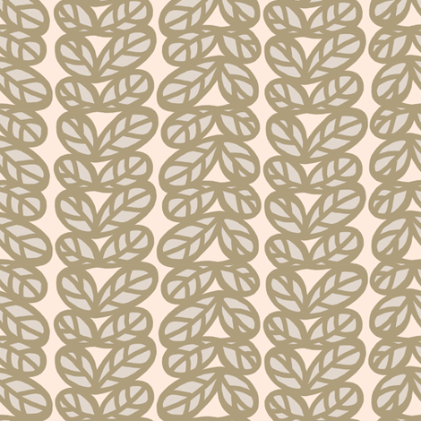 Leaves in pink and grays fabric by lburleighdesigns on Spoonflower - custom fabric