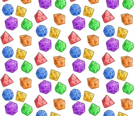 Rainbow Jelly Dice on White fabric by sweetingenuity on Spoonflower - custom fabric
