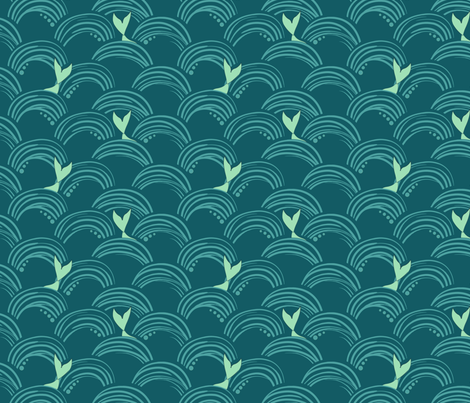mermaid_waves_dark background fabric by jennifer_todd on Spoonflower - custom fabric