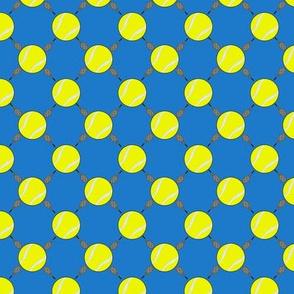 Tennis balls and Rackets blue