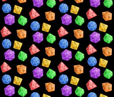 Rainbow Jelly Dice in Black fabric by sweetingenuity on Spoonflower - custom fabric