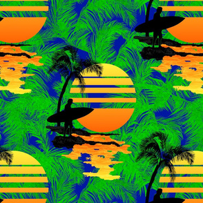 Surfing Tropical Print