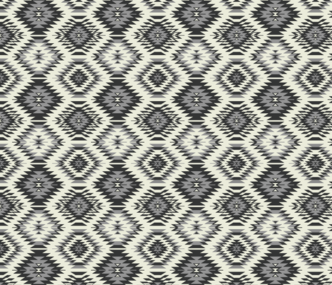 Navajo - Soft Black, Gray, and Cream 3 fabric by bohemiangypsyjane on Spoonflower - custom fabric