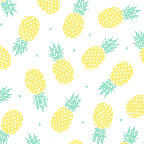 Pineapple White Background Small Fabric Kimsa