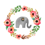 Floral Elephant in Water Color with Floral Wreath