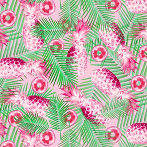 Pineapples in Pink Hues with Green Palms