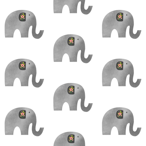 Floral Elephant in White Background fabric by shopcabin on Spoonflower - custom fabric