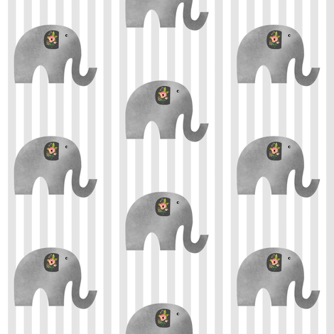 Floral Elephant with Stripes fabric by shopcabin on Spoonflower - custom fabric