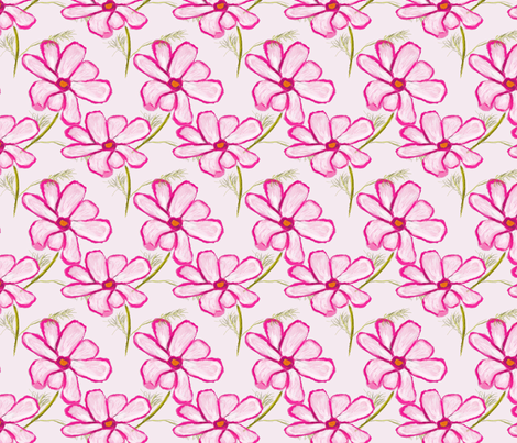 Pink Cosmo Flower Pattern fabric by boundingsquirrel on Spoonflower - custom fabric