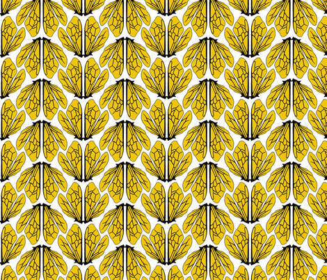 Wings of bees golden yellow fabric by alexandraboman on Spoonflower - custom fabric