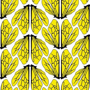 Wings of bees bright yellow