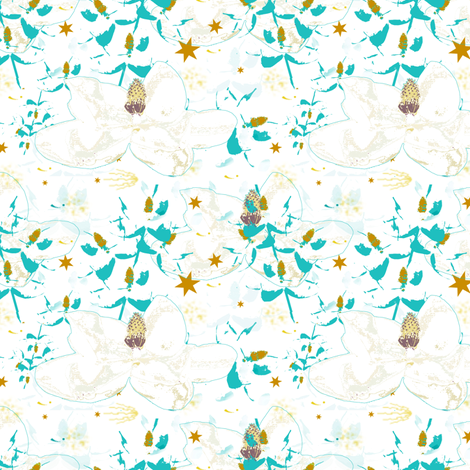 Magnolias in the Breeze fabric by karenharveycox on Spoonflower - custom fabric