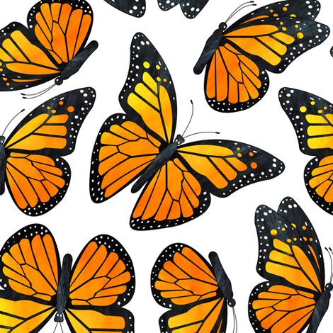 Monarch Butterfly Watercolor Pattern fabric by jannasalak on Spoonflower - custom fabric
