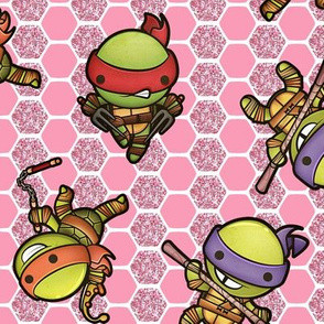 Kawaii Turtle Heros- Pink