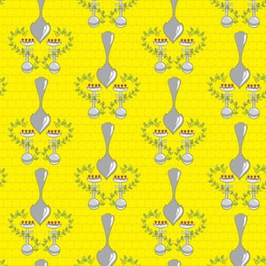 Silver Spoons on Yellow Brick_Miss Chiff Designs