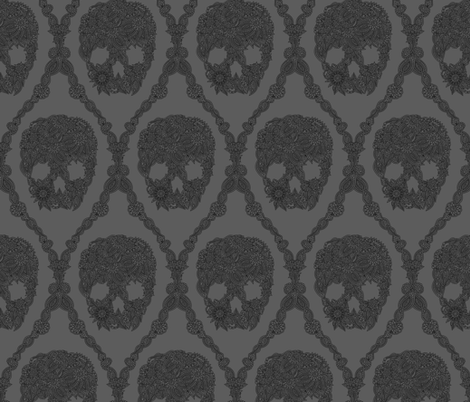doodle-skull-damask-gray fabric by marafribus on Spoonflower - custom fabric