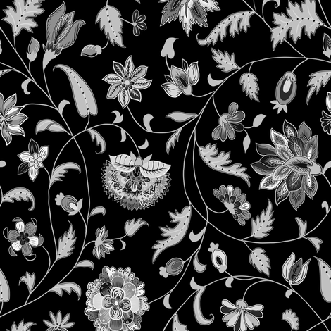Black and white colonial twisting vines and flowers small scales black and white colonial twisting vines and flowers small scales fabric by ninniku on spoonflower mightylinksfo