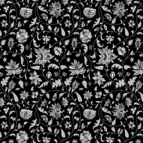 Black and White Colonial Twisting Vines and Flowers - Small Scales