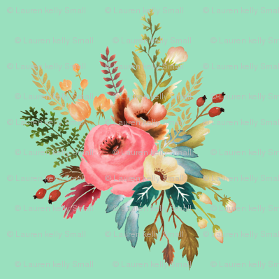 Watercolor Floral Motif 01 on Peppermint
