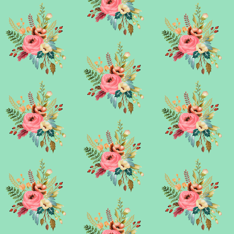 Watercolor Floral Motif 01 on Peppermint fabric by thistleandfox on Spoonflower - custom fabric